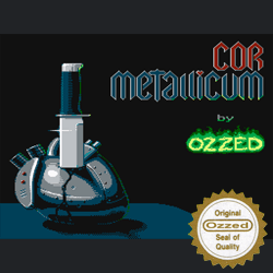 Cover image for the Bitpop and Nintendo 8-bit tune album Cor Metallicum by the chiptune artist Ozzed