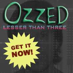 Cover image for the bitpop and chip and electro album Lesser Than Three by the chiptune artist Ozzed