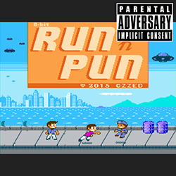 Cover image for the lo-fi and electro album 8-bit Run 'n Pun by the bitpop artist Ozzed who lives in Sweden